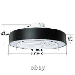 LED Round Ceiling Fan Light 22.6 Modern 3 Color Change Lamp Remote Control