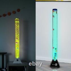 LED Sensory Bubble Tube Lamp 4' Tank With Plastic Fish Autism Friendly