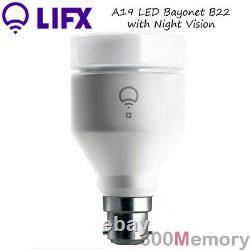 LIFX + A19 Night Vision LED Light Bulb B22 Bayonet Cap A60 Wi-Fi 16 Mil. Colour