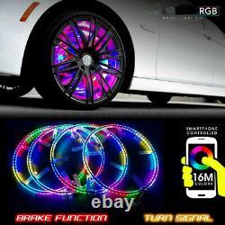 Lighting 4x 15.5 IP68 RGB Color Changing Bluetooth LED Wheel Rings Lights