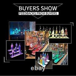 Liquor Bottle Display 30'' Shelf 2 Layer Illuminated LED Color Changing with RC