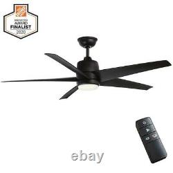 Mara 54 in. White Color Changing Int. LED Indoor/Outdoor Matte Black Ceiling Fan