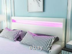 Mecor Full Size LED Bed Frame with 8 Color Changing LED Lights Headboard, White