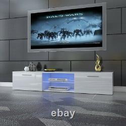 Modern 160cm TV Unit Cabinet TV Stand Matt Body & High Gloss Doors LED Light