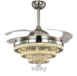 Modern Crystal LED 3-Color Change Chandelier 42 Invisible Ceiling Fan withRemote