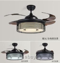 Modern Remote 42Invisible Ceiling Fan Light LED 3-Color Change Chandelier Black