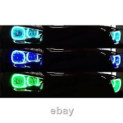 Multi-Color LED RGB Headlight Halo Ring BLUETOOTH Set For 2011-14 Dodge Charger