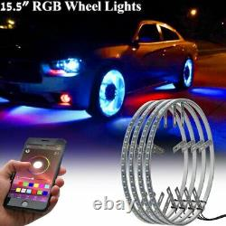 Pack 4x IP68 15.5 Bluetooth Adjustable RGB Color changing LED Wheel Rings Light