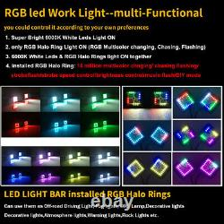 Pair 3 48W Led Work Light Bar Spot Fog Pods RGB Halo Color Changing Chasing Kit