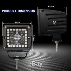 Pair 48W Led Work Light 3x3 Cube Pods RGB Angel Eyes Halo Color Change Chasing