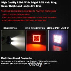Pair 48W Led Work Light Bar Flush Mount Pods RGB Halo Color Changing Chasing Kit