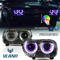 Pair LED Headlights RGB Color Change Lamps For 2015-2020 Dodge Challenger SE R/T