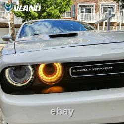 Pair LED Headlights RGB Color Change Lamps For 2015-2020 Dodge Challenger SE R/T