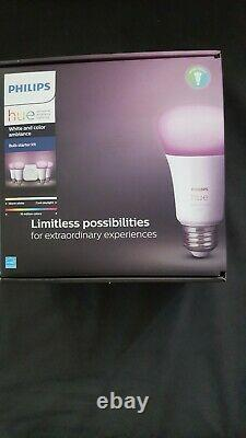 Philips Hue White Color Ambiance A19 60W Equivalent LED Smart Bulb Starter Kit