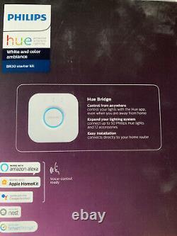 Phillips Hue Bridge White and Color Ambiance BR30 Smart Light Bulb Starter Kit