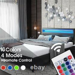 Queen Size Bed Frame Bedroom Platform With 4 Color Changing LED Light Headboard