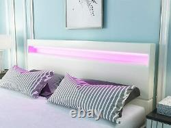 Queen Size Upholstered LED Bed Frame, 8 Color Changing Lights Headboard, White