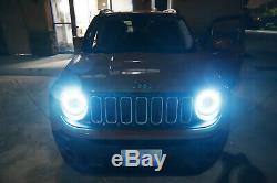 RGB LED Headlight Angel Eye Halo Ring Kit For 15+ Jeep Renegade 07-14 FJ Cruiser