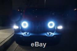 RGB LED Headlight Angel Eye Halo Ring Kit For 2018-up Jeep Wrangler JL Retrofit