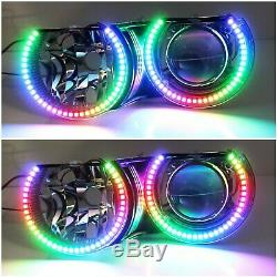 RGBW Color LED Angel Eyes Halo Rings For BMW E46 3Series, 07-14 Silverado Sierra