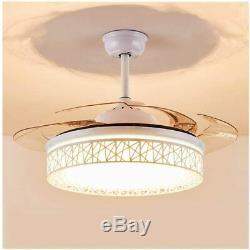 Retractable 42 LED Ceiling Fan Light Blades 3Color Change Chandelier Lamp