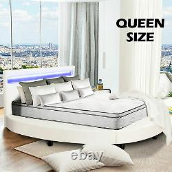 Round Queen Size LED Bed Frame 8 Color Changing LED Light withUpholstered, White