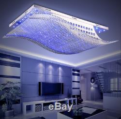 S Wave K9 Crystal LED Colorful Ceiling Light Flush Mount Chandelier with Remote