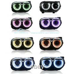 Set LED Headlights RGB Music rhythm Color Change For 2015-2020 Dodge Challenger