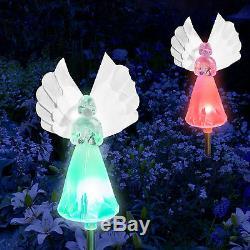 Set of 2 Solar Power Angel Fiber Optic Wings Garden Stake Color Change LED Light