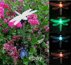 Set of 2 Solar Powered Dragonfly Yard Garden Stake Color Changing LED Light