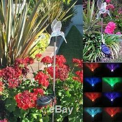 Set of 2 Solar Powered Hummingbird Yard Garden Stake Color Changing LED Light
