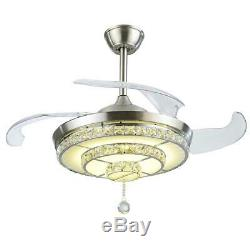 Silver 42 Invisible Ceiling Fan Light LED 3-Color Change Crystal Chandelier