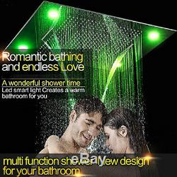 Thermostat Shower Combo 31X24 LED Color Change Waterfall Rain Mist Shower Head