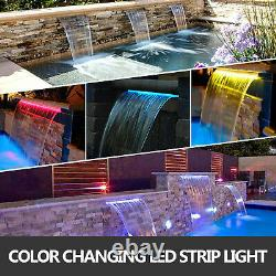 VEVOR 35.4 Pool Fountain Waterfall Spillway LED Lighted Color Changing