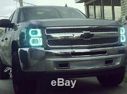 Wireless RGB 7-Color LED Angel Eyes Halo Rings For Chevy Silverado GMC Sierra