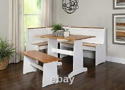 Wooden Breakfast Nook Dining Set Corner Booth Bench Kitchen Table 3-Piece White